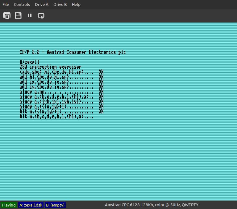 Z80 instruction exerciser